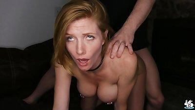 Sexy Redhead Upon Pierced Nipples Enjoys Rough Sex
