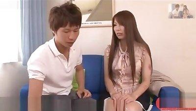 Japanese cute girl FFM threesome 2models subtitled