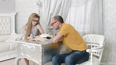 Nerdy girl thinks about fucking the guy who is studying beside her