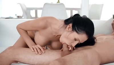 Taboo fuck of the ill-lighted with enhanced boobs and stepson