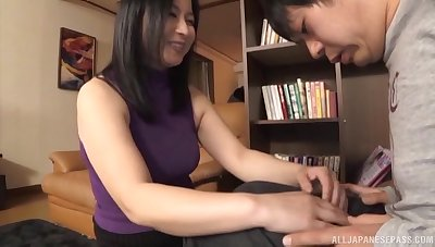 Foxy Japanese wed spreads their way legs nearby ride a dick in cowgirl
