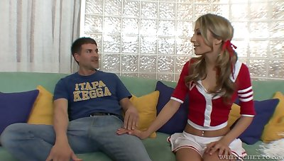 Kinky cheerleader Natalia Rossi rides sloppy cock with total dedication