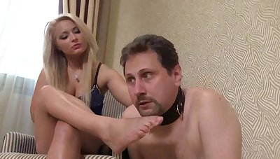 Femdom Girls order guys to smell their feet  - male slaves