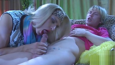 Blond crossdresser gets cum on her butt