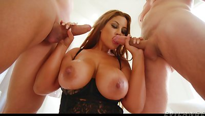 Forth carry on two studs to hand once busty MILF Bridgette B gives solid BJs