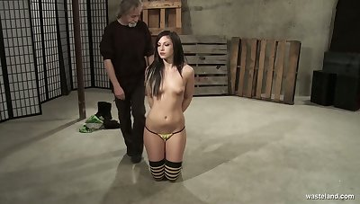Brunette pet Jade Thomas gets her pussy punished by one kinky old fart