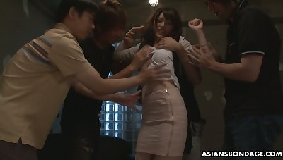 Several students fuck Japanese coed Kanako Iioka increased by be to blame for her snatch with cum