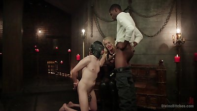 Bi-sexual male slave endures black cock up the throat