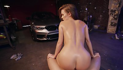 Hot milf rides guy's dick down within reach the garage