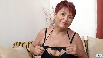 Czech Granny GILF with big saggy tits coupled with shaved pussy poses solo