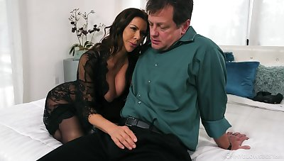 Frightening buxom tanned brunette Alexis Fawx gives BJ in the best possible way