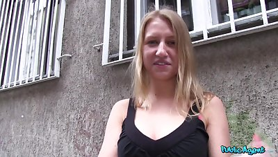 Public quickie with adorable blonde stranger Milana Blanc