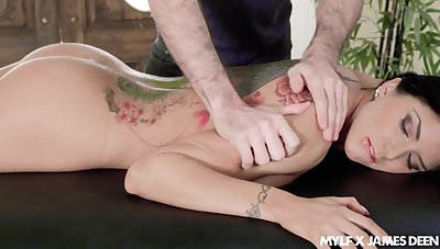 Big titty massage and upside down throat fuck scene featuring Romi Rain