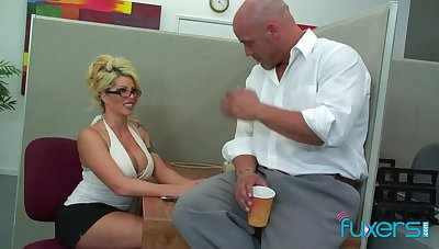 Appetizing looking busty blonde secretary is ready be incumbent on sensual fuck in the meeting