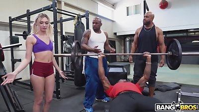 Cute white girl interrupts a workout and ends up getting fucked off out of one's mind black living souls