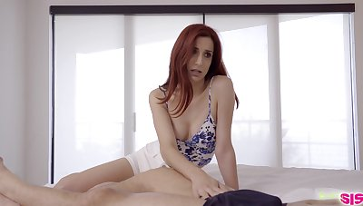 Hardcore threesome intercourse anent stepsister increased by the brush red haired girlfriend