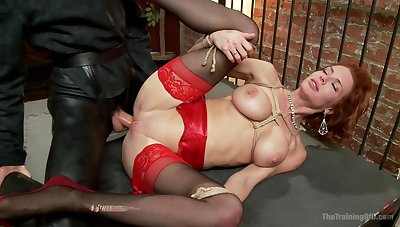 Redhead with huge tits, nasty role play and abysm hardcore carnal knowledge