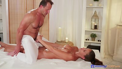 Fantastic eternal coition between the older masseur and the young doll