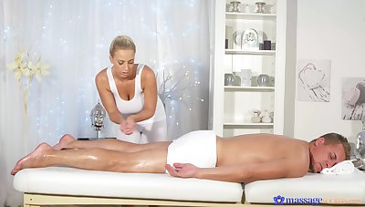 Oiled ass masseuse ends up with the whole dick in their way cunt