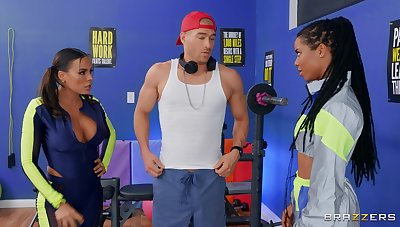 Fitness fanatics Luna Star and Kira Noir plot a young guy's dick