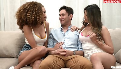 Curly haired ebony and thick Asian in mutual cock parcelling XXX