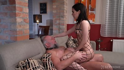 Skinny young brunette acts dominant with her senior male consequent