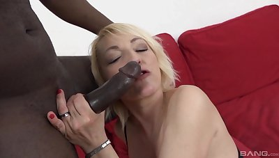 Horny blonde full-grown Adriana Love spreads her legs for interracial anal
