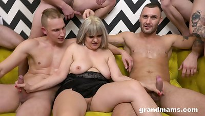 Lot of dudes team up to fuck scruffy pussy of a mature BBW slut
