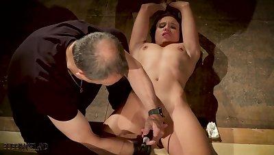 Secured up slave made to orgasm in bondage sex