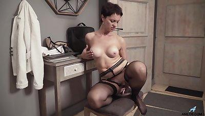 Tall Belarusian MILF regarding long sexually appealing legs loves fingering herself