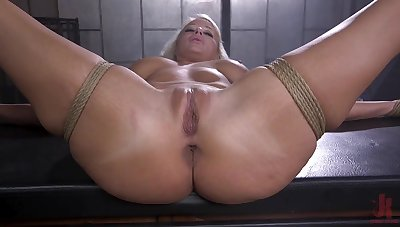 Naked and bound blonde is fucked in many exertion by her master