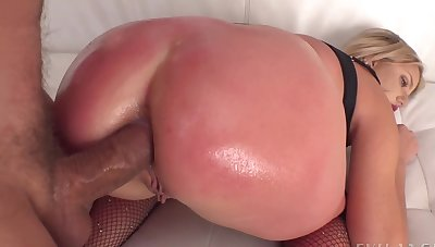 Mick Blue spanks Harmony Rivers hard while having it away her ass